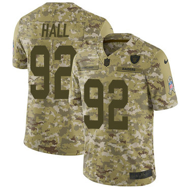 89e309c7516 Nike Raiders  92 P.J. Hall Camo Men s Stitched NFL Limited 2018 Salute To  Service Jersey