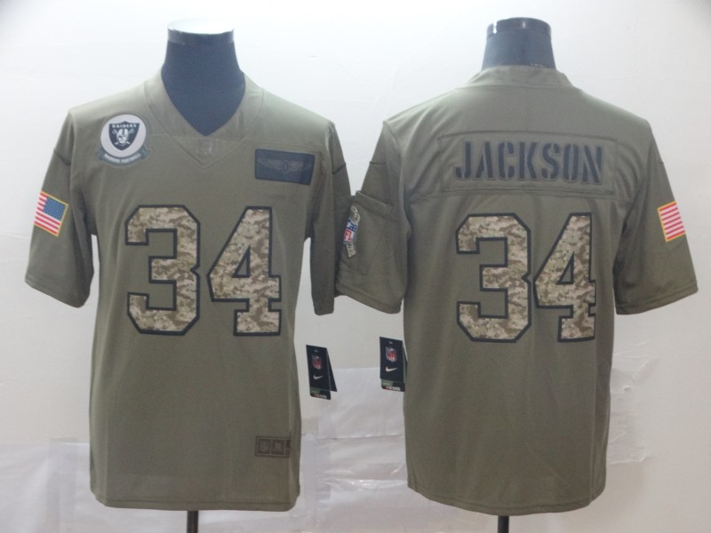 Nike Raiders 34 Bo Jackson 2019 Olive Camo Salute To Service Limited Jersey
