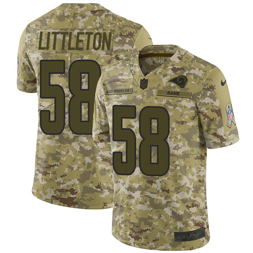Nike Rams #58 Cory Littleton Camo Youth Stitched NFL Limited 2018 Salute to Service Jersey