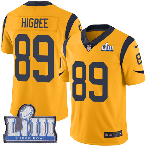 Nike Rams #89 Tyler Higbee Gold Super Bowl LIII Bound Men's Stitched NFL Limited Rush Jersey