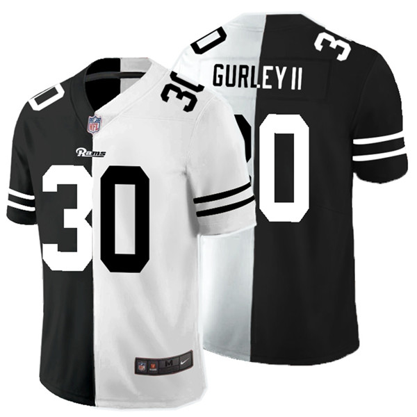 Nike Rams 30 Todd Gurley II Black And White Split Vapor Untouchable Limited Jersey