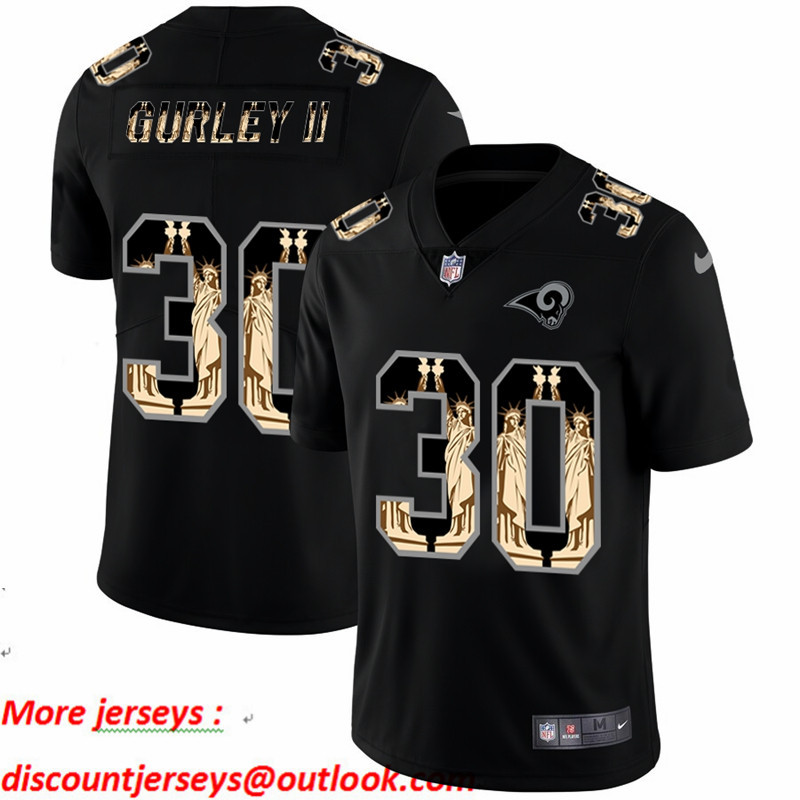 Nike Rams 30 Todd Gurley II Black Statue Of Liberty Limited Jersey
