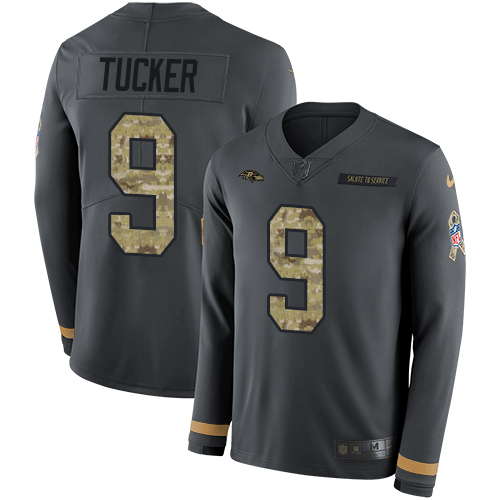 01bc3cdb6 Nike Ravens  9 Justin Tucker Anthracite Salute to Service Men s Stitched NFL  Limited Therma Long