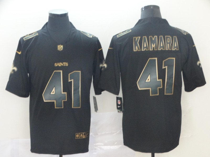 Nike Saints 41 Alvin Kamara Black Gold Vapor Untouchable Limited Jersey