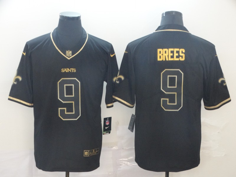 Nike Saints 9 Drew Brees Black Gold Throwback Vapor Untouchable Limited Jersey