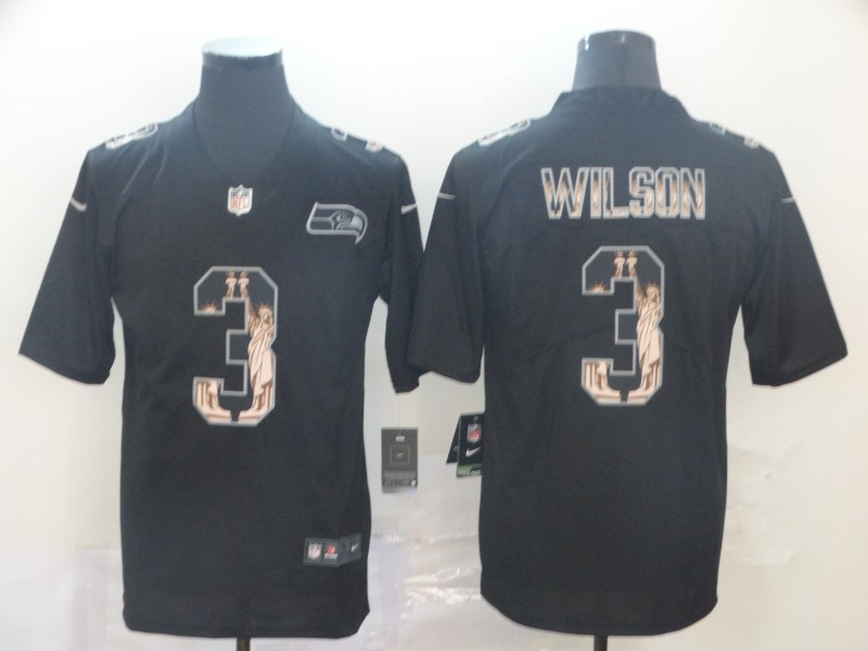 Nike Seahawks 3 Russell Wilson Black Statue Of Liberty Limited Jersey