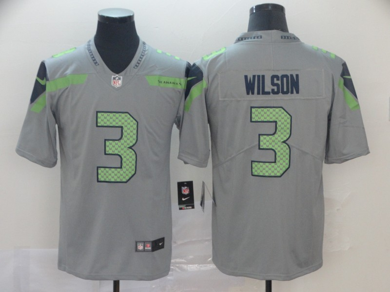 Nike Seahawks 3 Russell Wilson Gray Inverted Legend Limited Jersey