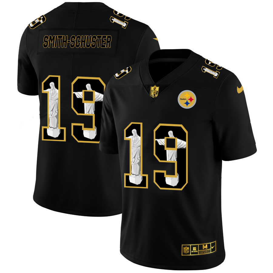 Nike Steelers 19 JuJu Smith-Schuster Black Jesus Faith Edition Limited Jersey