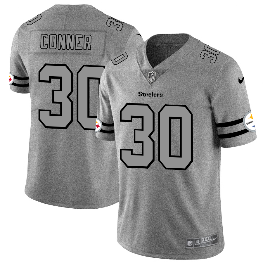 Nike Steelers 30 James Conner 2019 Gray Gridiron Gray Vapor Untouchable Limited Jersey