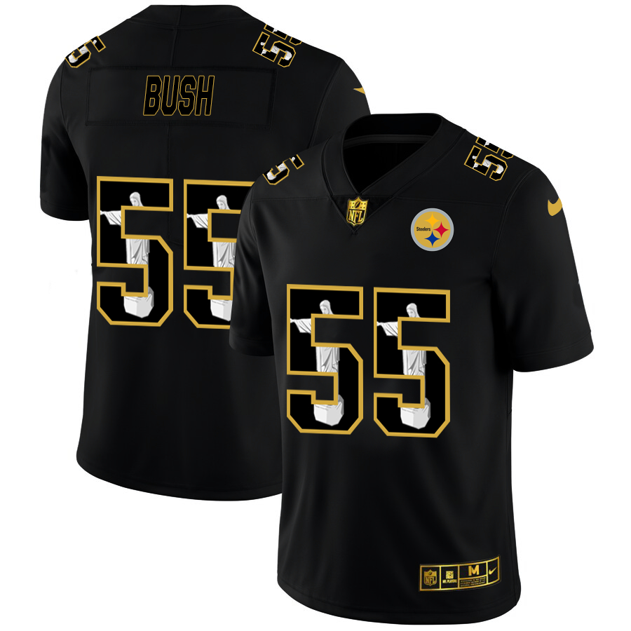 Nike Steelers 55 Devin Bush Black Jesus Faith Edition Limited Jersey