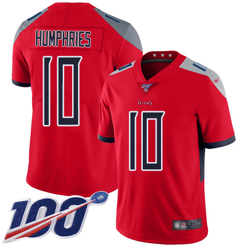 Nike Titans #10 Adam Humphries Red Men's Stitched Football Limited Inverted Legend 100th Season Jersey