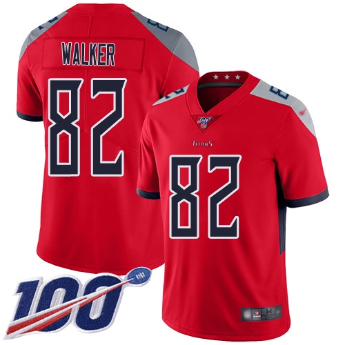 Nike Titans #82 Delanie Walker Red Men's Stitched Football Limited Inverted Legend 100th Season Jersey