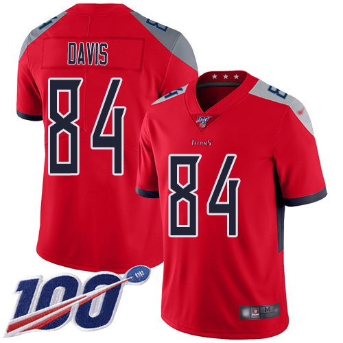 Nike Titans #84 Corey Davis Red Men's Stitched Football Limited Inverted Legend 100th Season Jersey