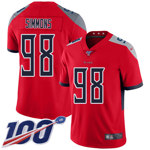 Nike Titans #98 Jeffery Simmons Red Men's Stitched Football Limited Inverted Legend 100th Season Jersey