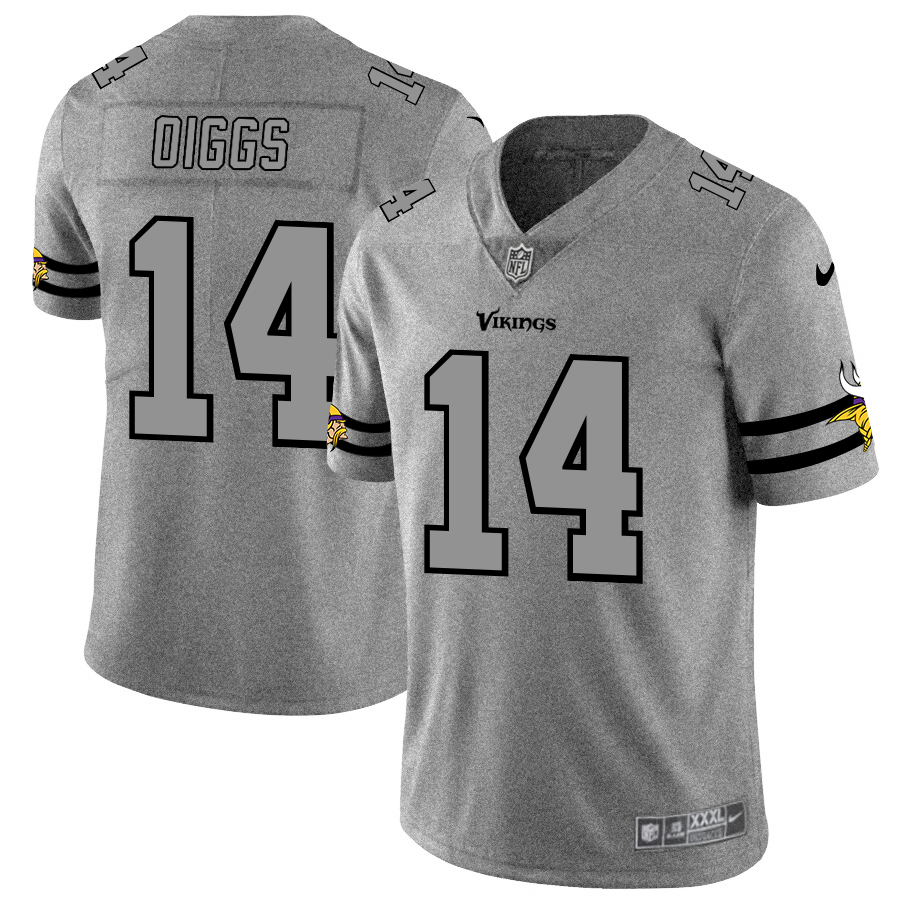 Nike Vikings 14 Stefon Diggs 2019 Gray Gridiron Gray Vapor Untouchable Limited Jersey