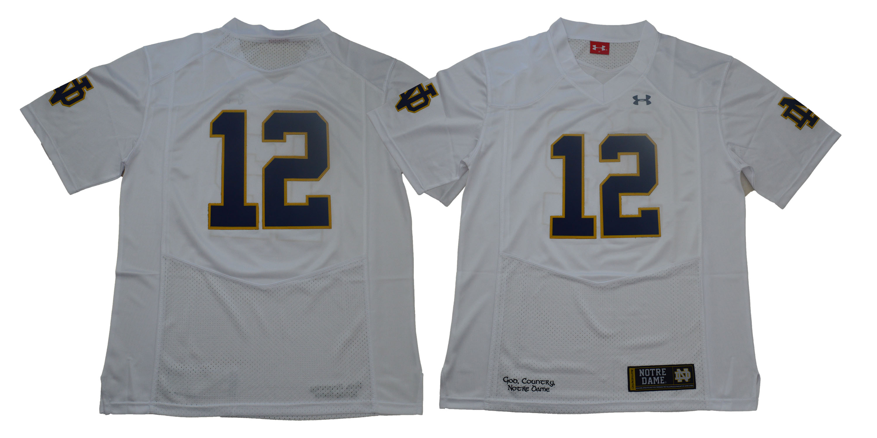 Notre Dame Fighting Irish #12 White Under Armour College Football Jersey
