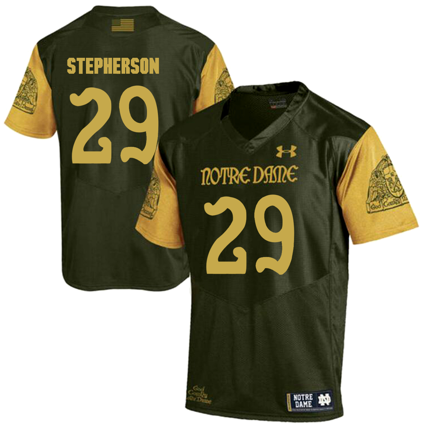 Notre Dame Fighting Irish 29 Kevin Stepherson Olive Green College Football Jersey