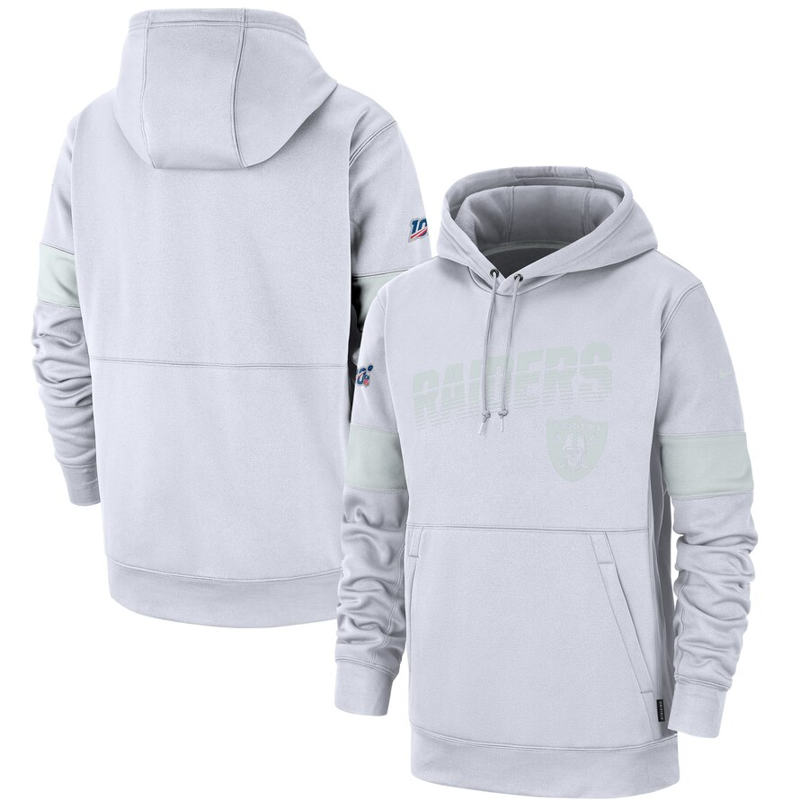Oakland Raiders Nike NFL 100 2019 Sideline Platinum Therma Pullover Hoodie White