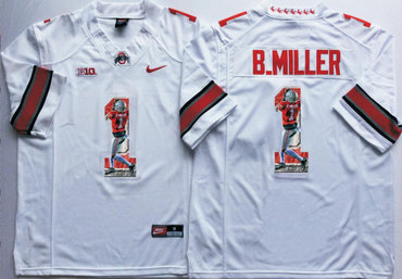 Ohio State Buckeyes 1 B.Miller White Portrait Number College Jersey 3d25357e9