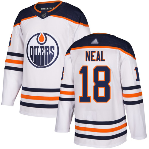 Oilers #18 James Neal White Road Authentic Stitched Hockey Jersey
