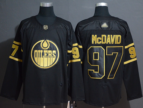 Oilers #97 Connor McDavid Black Gold Authentic Stitched Hockey Jersey