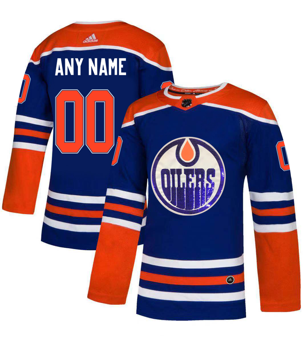 Oilers Blue Men's Customized Glittery Edition Adidas Jersey