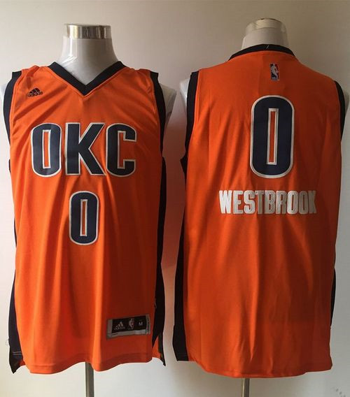Oklahoma City Thunder  0 Russell Westbrook Orange Alternate Stitched NBA  Jersey dc31765e4