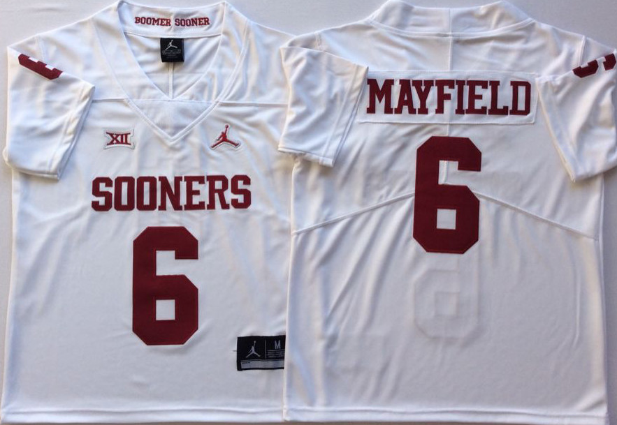 info for 2218c 426cf Oklahoma Sooners 6 Baker Mayfield White College Football Jersey