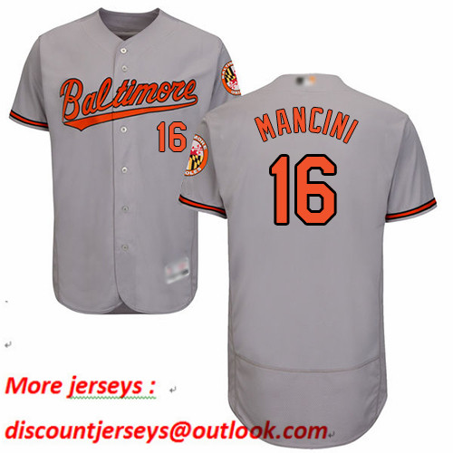 Orioles #16 Trey Mancini Grey Flexbase Authentic Collection Stitched Baseball Jersey