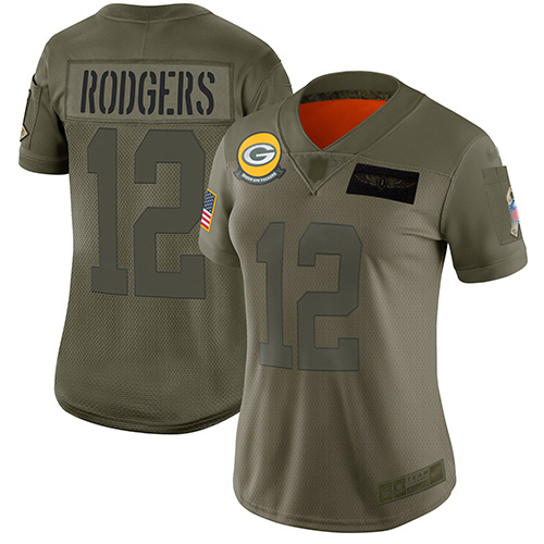 Packers #12 Aaron Rodgers Camo Women's Stitched Football Limited 2019 Salute to Service Jersey