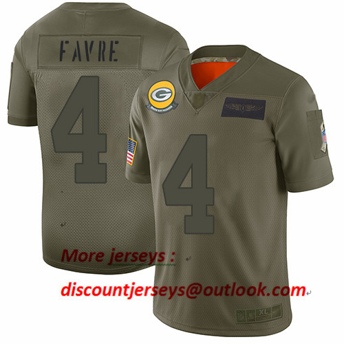 Packers #4 Brett Favre Camo Youth Stitched Football Limited 2019 Salute to Service Jersey