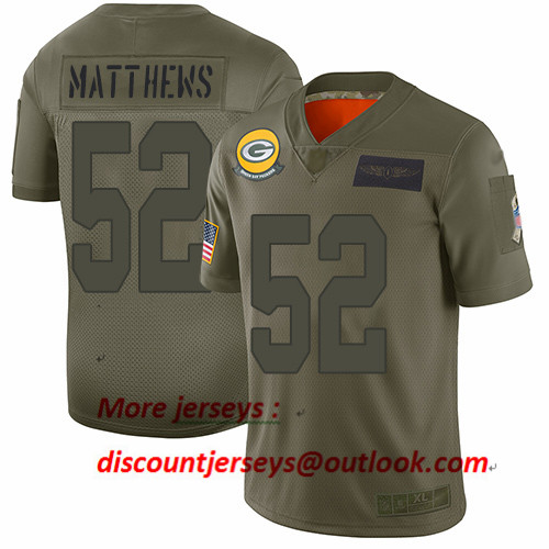 Packers #52 Clay Matthews Camo Youth Stitched Football Limited 2019 Salute to Service Jersey
