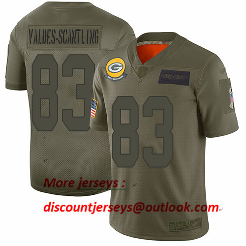 Packers #83 Marquez Valdes-Scantling Camo Youth Stitched Football Limited 2019 Salute to Service Jersey