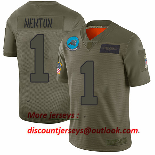 Panthers #1 Cam Newton Camo Youth Stitched Football Limited 2019 Salute to Service Jersey