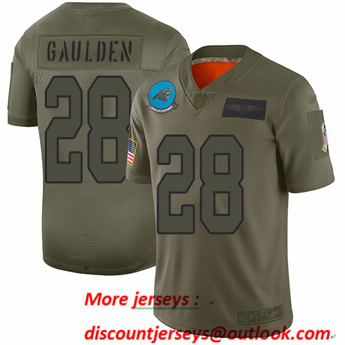 Panthers #28 Rashaan Gaulden Camo Men's Stitched Football Limited 2019 Salute To Service Jersey