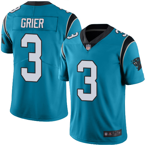 Panthers #3 Will Grier Blue Men's Stitched Football Limited Rush Jersey