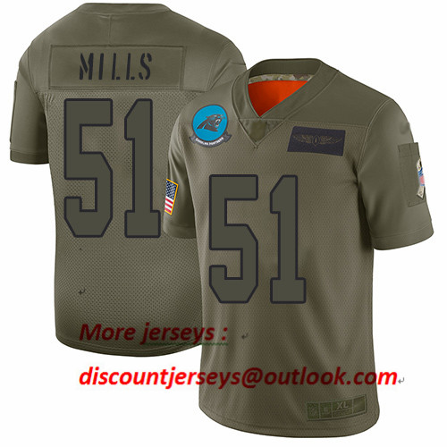 Panthers #51 Sam Mills Camo Youth Stitched Football Limited 2019 Salute to Service Jersey