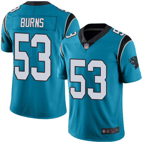 Panthers #53 Brian Burns Blue Men's Stitched Football Limited Rush Jersey