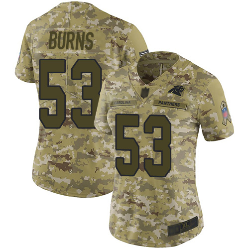 Panthers #53 Brian Burns Camo Women's Stitched Football Limited 2018 Salute to Service Jersey