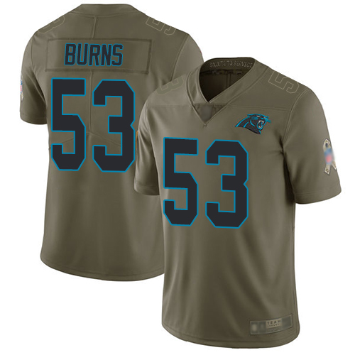 Panthers #53 Brian Burns Olive Men's Stitched Football Limited 2017 Salute To Service Jersey