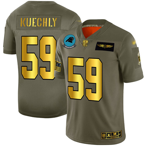 Panthers #59 Luke Kuechly Camo Gold Men's Stitched Football Limited 2019 Salute To Service Jersey