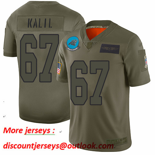 Panthers #67 Ryan Kalil Camo Youth Stitched Football Limited 2019 Salute to Service Jersey