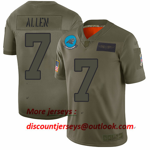 Panthers #7 Kyle Allen Camo Youth Stitched Football Limited 2019 Salute to Service Jersey