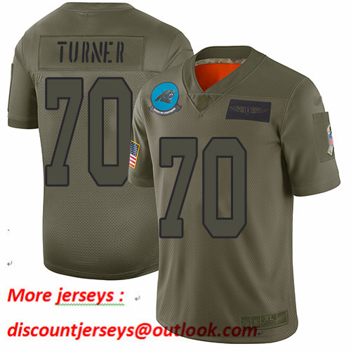 Panthers #70 Trai Turner Camo Youth Stitched Football Limited 2019 Salute to Service Jersey