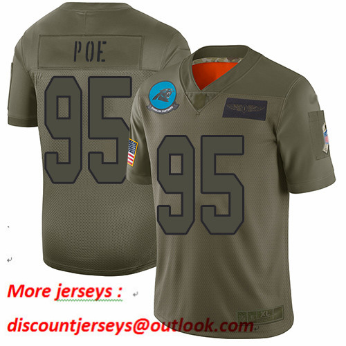 Panthers #95 Dontari Poe Camo Youth Stitched Football Limited 2019 Salute to Service Jersey