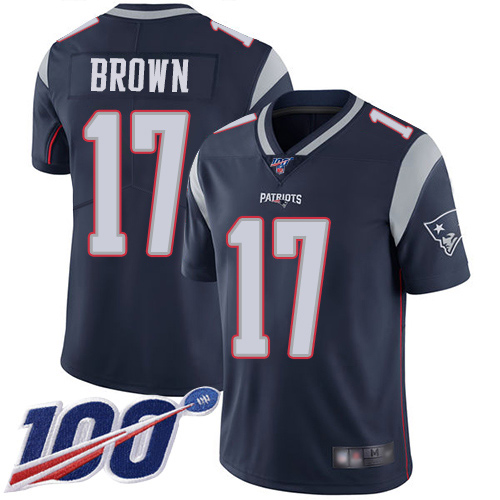 Patriots #17 Antonio Brown Navy Blue Team Color Men's Stitched Football 100th Season Vapor Limited Jersey
