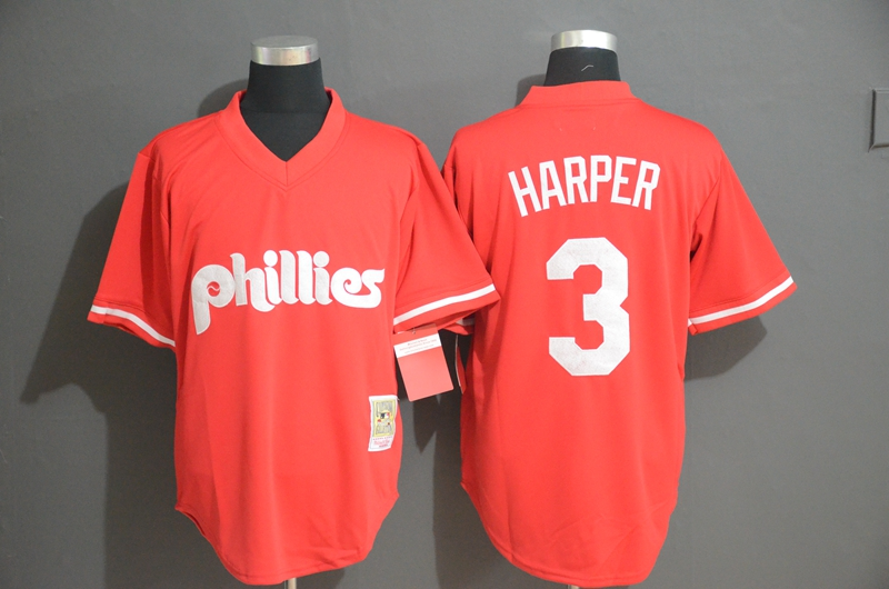 Phillies 3 Bryce Harper Red Throwback Jersey