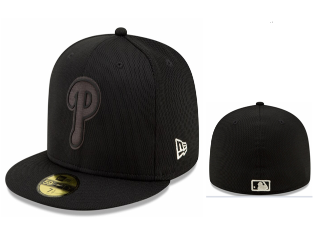 Phillies Team Logo Black Fitted Hat LX