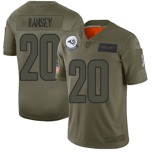Rams #20 Jalen Ramsey Camo Youth Stitched Football Limited 2019 Salute to Service Jersey
