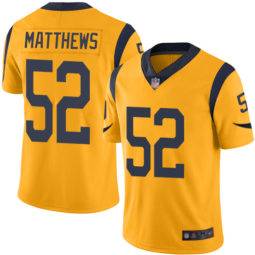 Rams #52 Clay Matthews Gold Youth Stitched Football Limited Rush Jersey